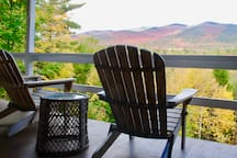 Back deck, with views of the AuSable River and the Stephenson Mountain Range.
