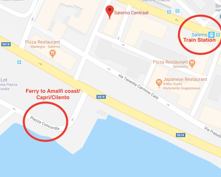 Our strategic location: a few meters from the train station and the ferry station!