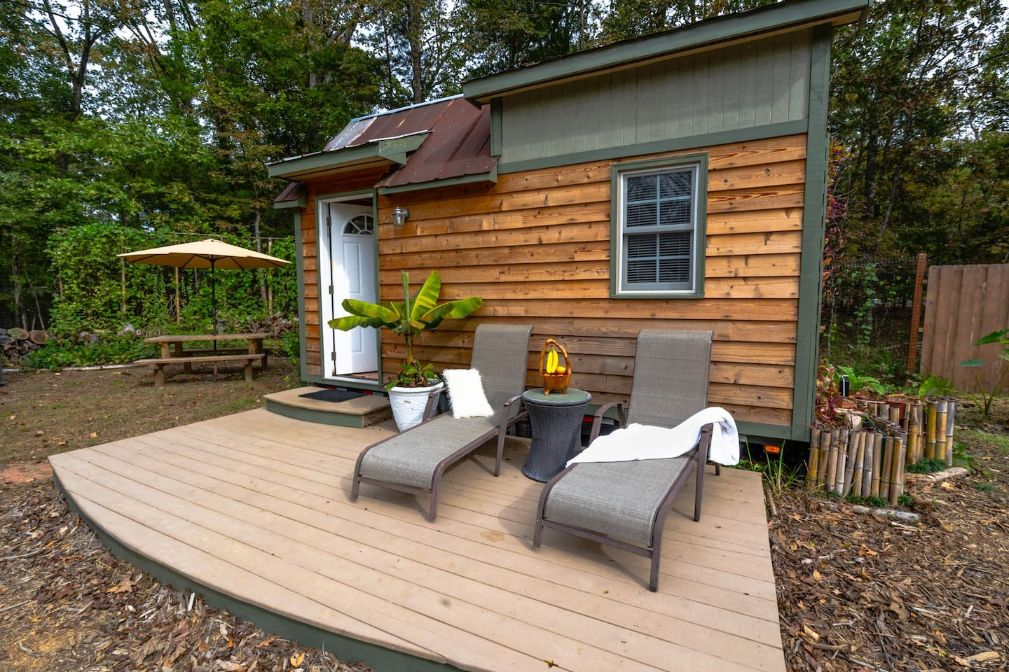 Our lovely tiny home! Enjoy the warmth of the afternoon sun from the patio with a cup of coffee/tea and snacks