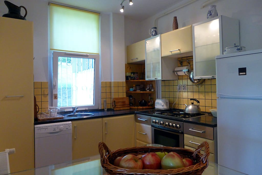 Fully-equipped kitchen with dishwasher and fridge.