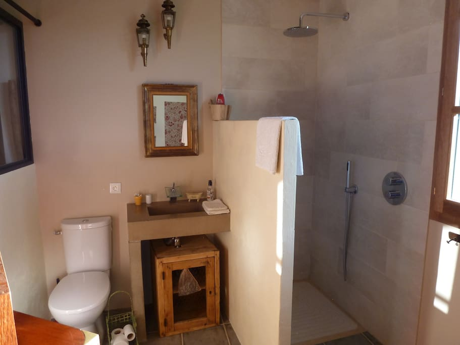Italian shower and toilet area