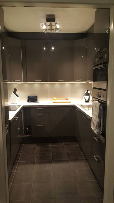 The kitchen is well-equipped with induction-cookplate, oven, Nescafé DeLonghi coffeemaker, microwave, fridge, freezer, cutlery and anything you need to make breakfast, lunch and dinner.