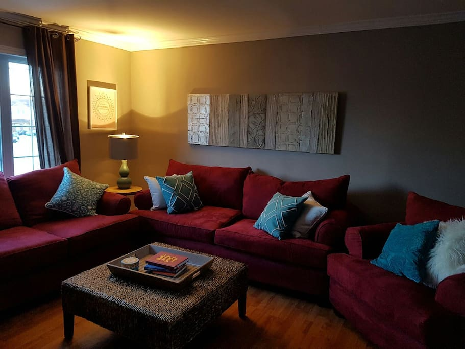 Warm, comfortable living space. Perfect reading and relaxing space.