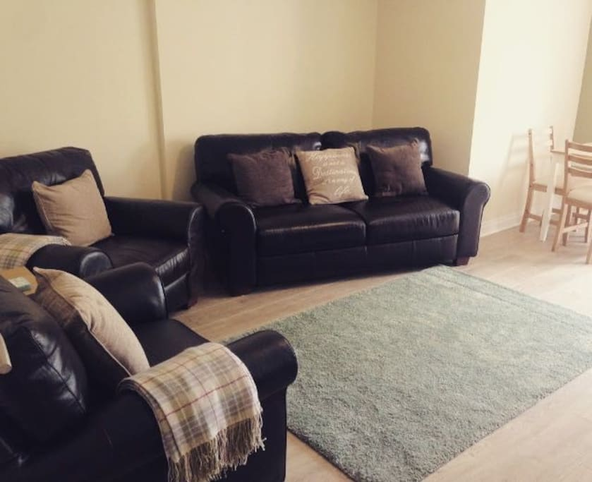 Newly refurbished living room with wood burning stove- so cosy!
