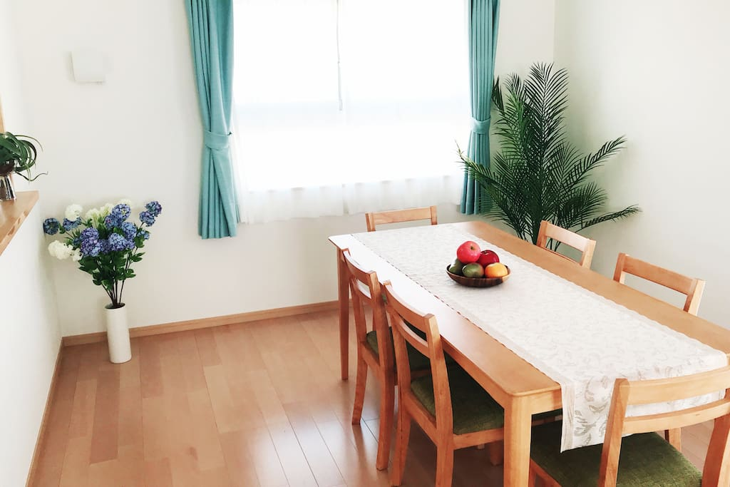 Dining table can seat six guests