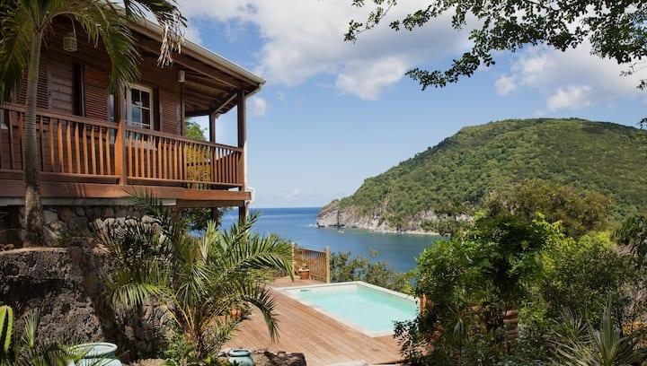 Villa Palm Bay, ocean view, private pool, Deshaies