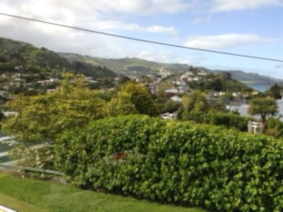 Beautiful sunny Port Chalmers views from the lounge