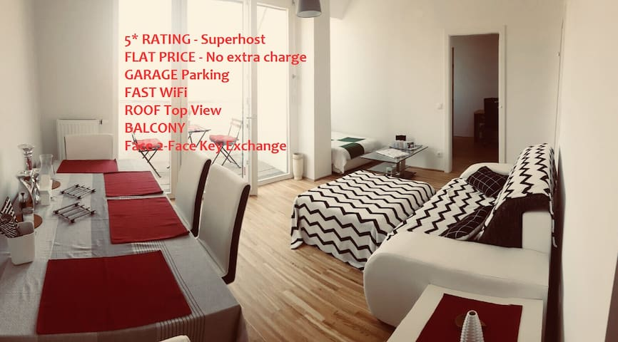 #1 NEW TOP ROOF Apartment incl Garage&Balcony&View