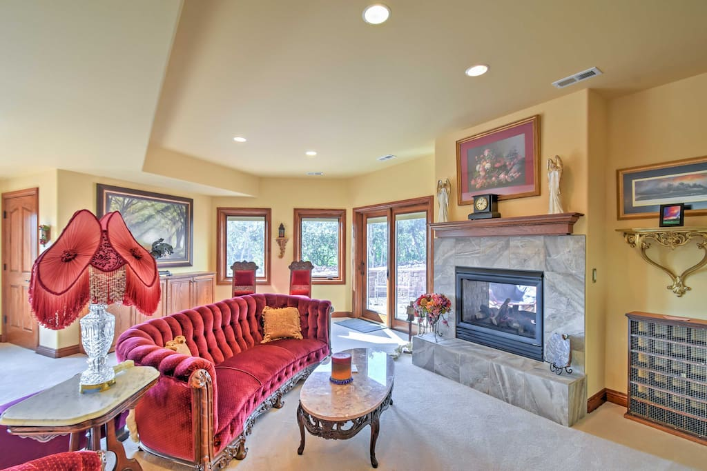 Get cozy on the velvet couch while warming yourself by the gas-burning fireplace.