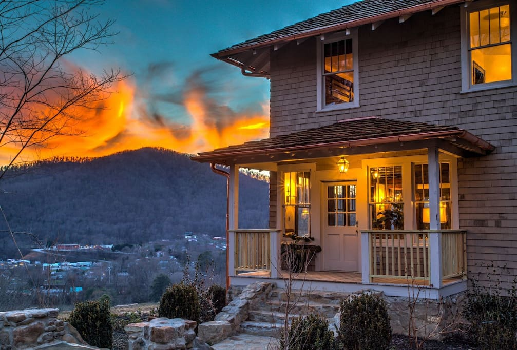 Stunning sunset views over the town of Hot Springs and the French Broad River!