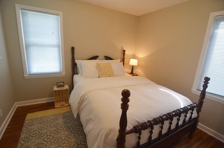 Our queen room boasts the best cotton sheets in the house, a down comforter, and a good sized closet.