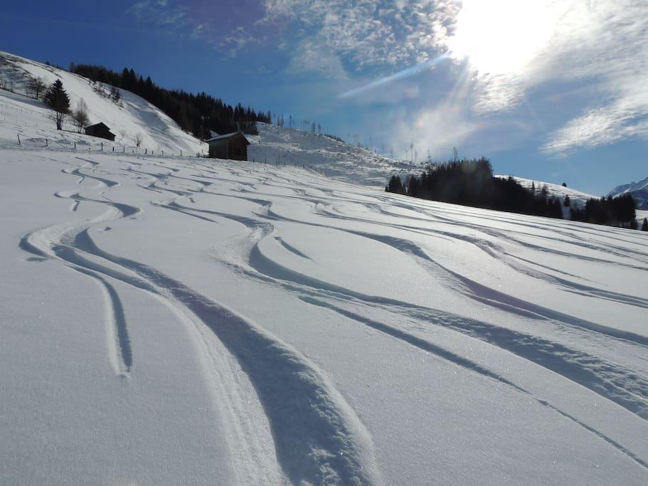Perfekte Bedingungen für Schneeschuhwanderer und Tourengeher direkt vor der Haustüre.