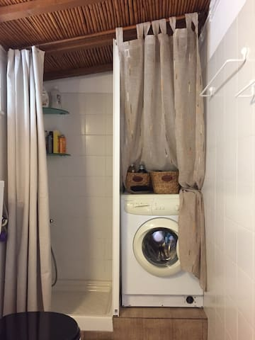 The shower and the washing machine