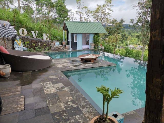 Hidden waterfall cabin 9 north Bali w/ pool & view