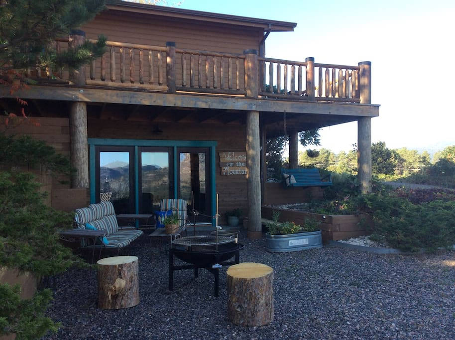 Private entrance, sitting areas and a Cowboy Grill with plenty of wood.