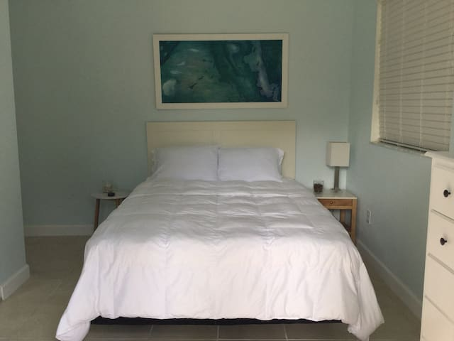 Spacious bedroom with high ceiling,  queen size bed, chest of drawers and closet