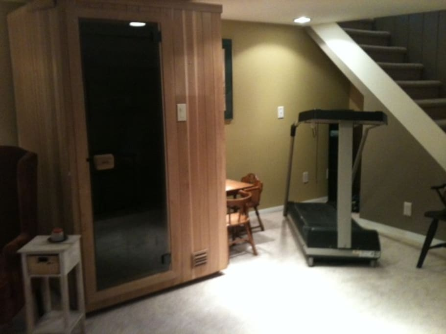 Plus, treadmill and sauna!