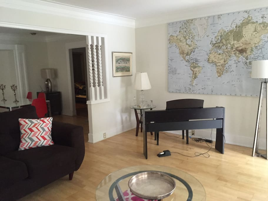Living room with 88-key piano keyboard
