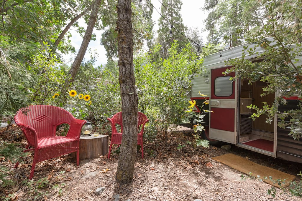 Vintage trailer can be added to your stay as an additional guest room.
