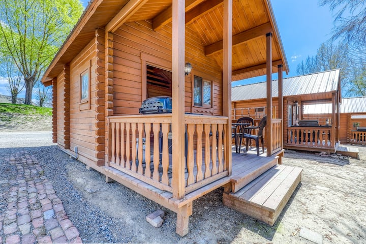 Dog-friendly, lakefront dry cabin w/ a private BBQ & shared resort amenities!