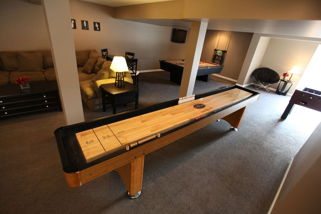 New basement Game Room!  Shuffleboard, Pool Table, Foosball, Roll-A-Score, 2 DirecTV's, kitchenette, and bathroom