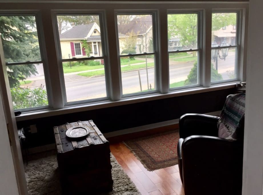 Main floor: Sunroom view of the business district in Wortley Village.
