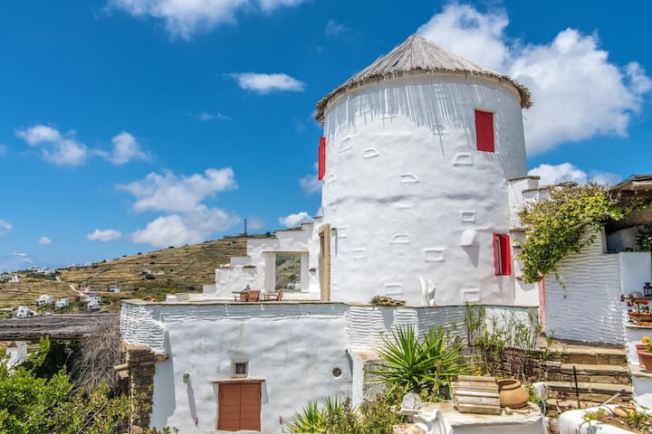 Tinos. Old Windmill in Triandaros village