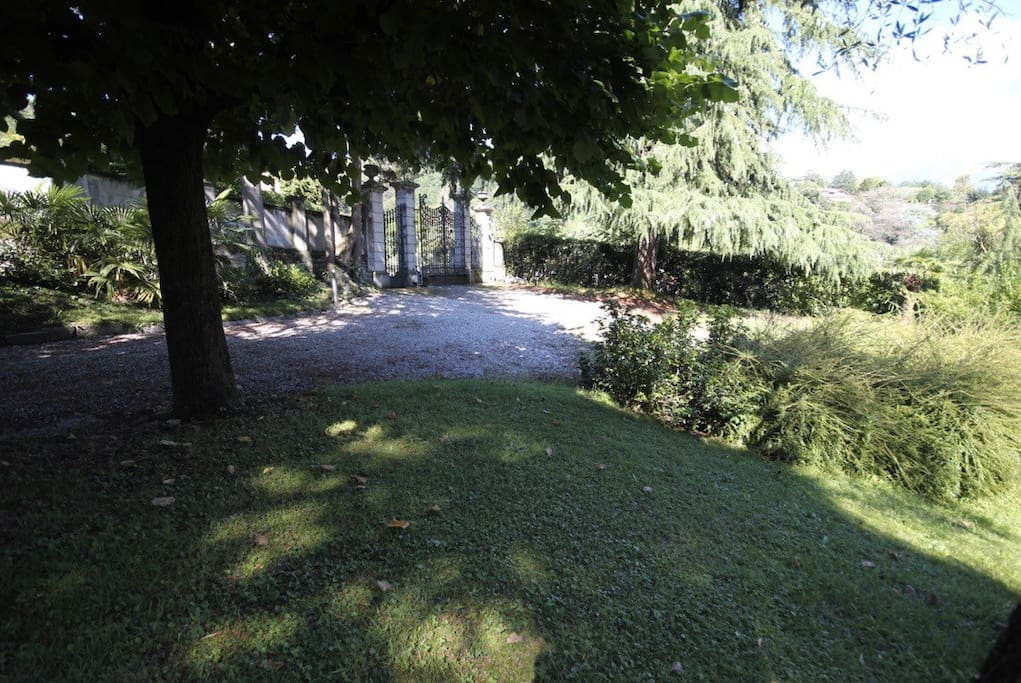 Part of the garden, and the entrance gate.