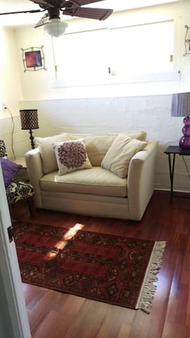 Office space/second room.  Love seat pulls out into twin size bed.
