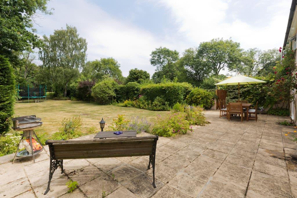 Garden with bbq and views across farmland/golf course