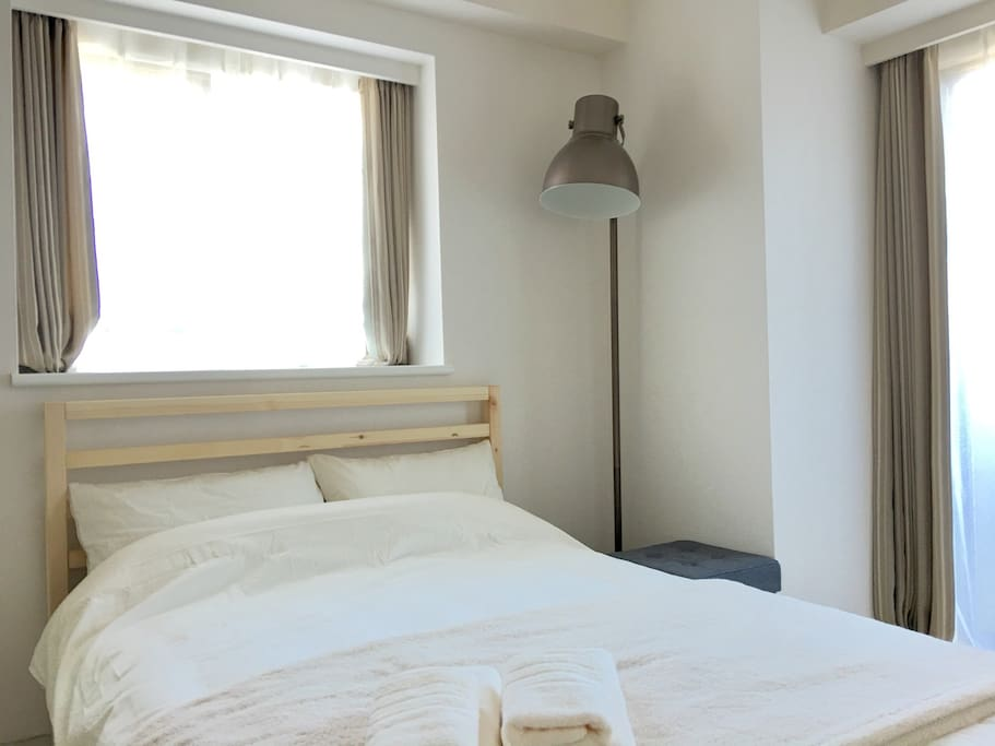 Comfortable sunny room comes with a regular bed for two guests. Another floor bed for the 3rd guest is available on demand.