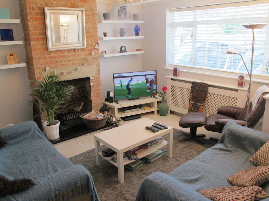 "Lounge with twin sofas and armchair, 50"" TV, Sky sports and movies, working fire place"