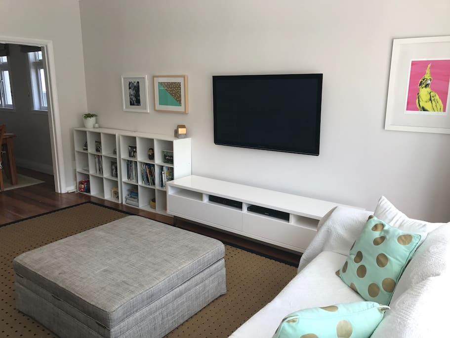 Living room with Apple TV access