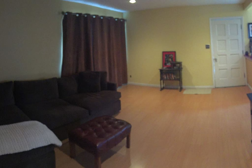 Spacious living room with big comfy couch