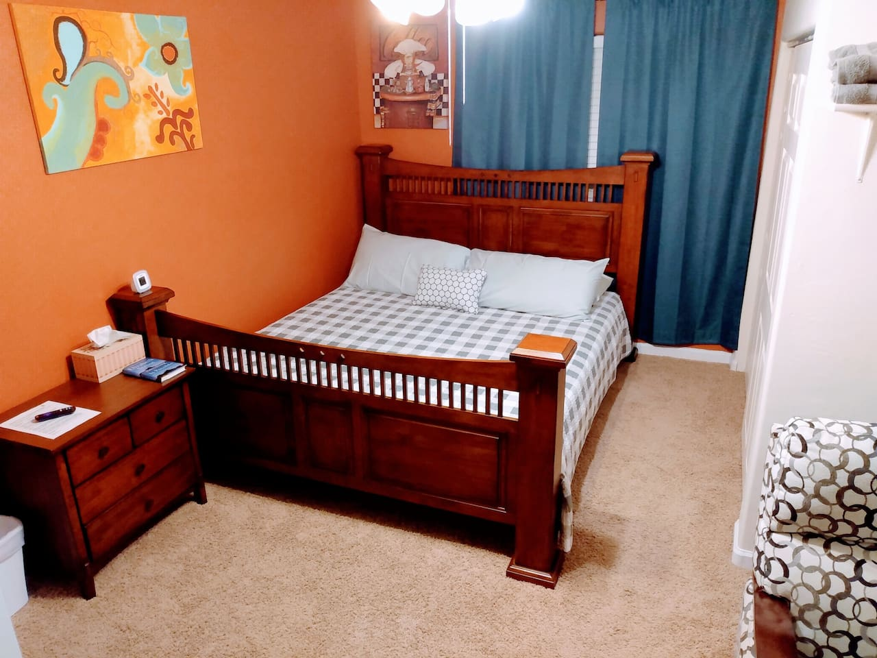 This is a Sealy Posturepedic California King Bed. In addition, a full-sized air mattress is available (on request).