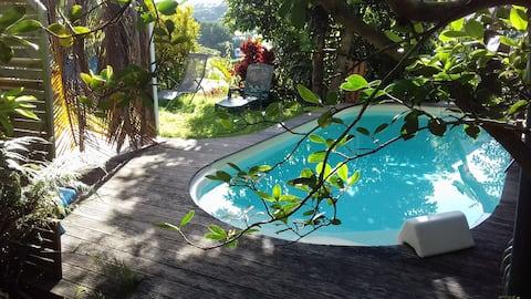 T2, vue sur la mer, piscine, jacuzzi et jardin
