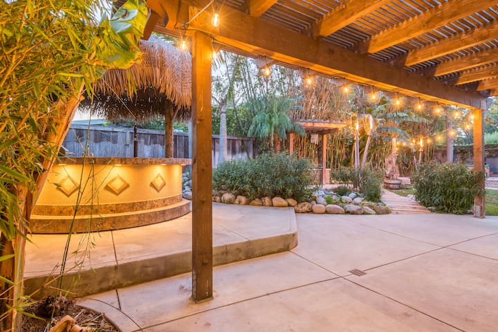 The backyard patio, with tiki bar, water feature, hot tub and 'flame' torches.