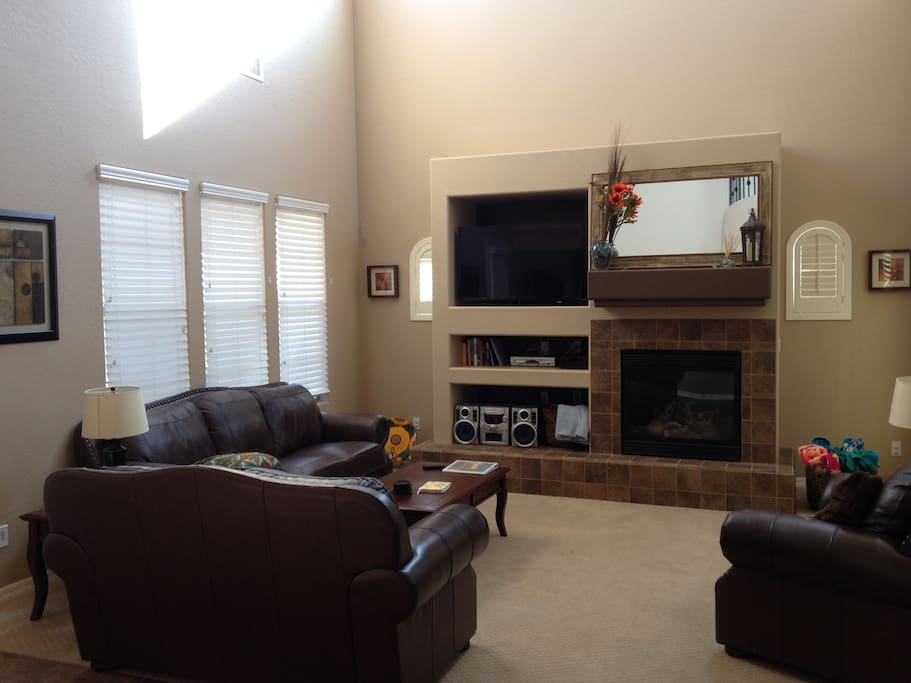 Living Area with TV, Blue Ray/DVD Player, 5 Disc CD Player and Fireplace