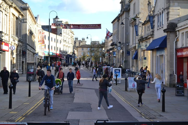 Bustling pedestrian-only Chippenham High Street