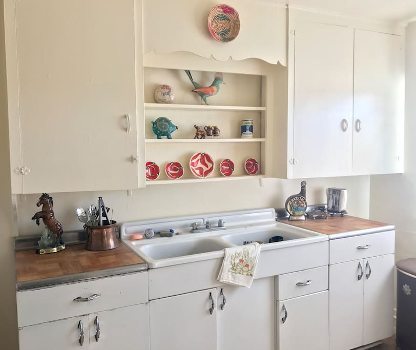 Vintage dual basin sink and cabinets