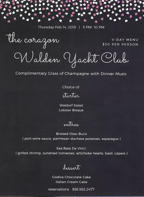 WYC menu for Thurs., 2/14. WYC reservations are optional when booking our Airbnb. **Cost of dinner not included in Airbnb reservation.**