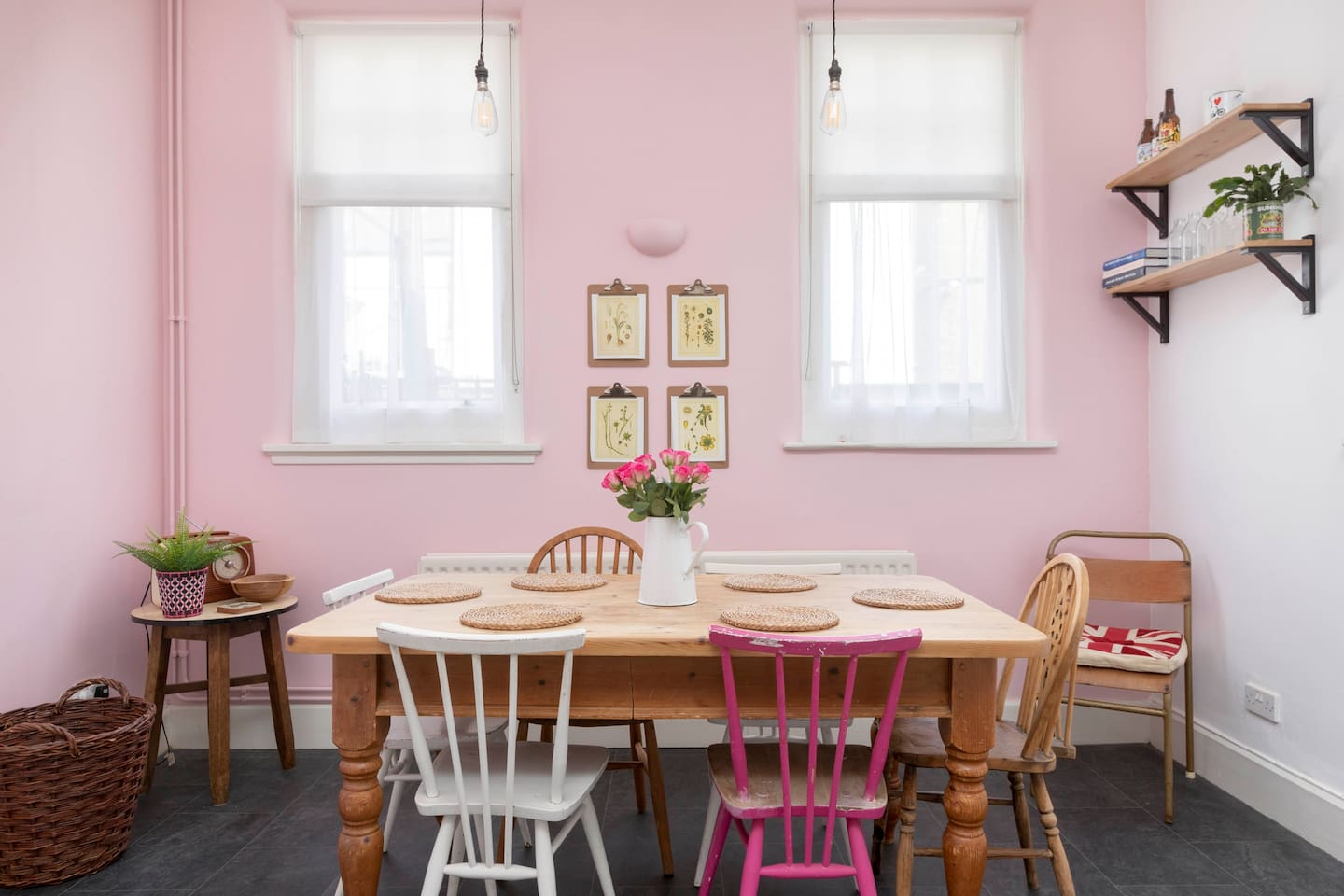 Farmhouse table and vintage chairs