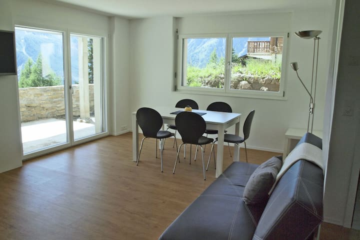 Spacious apartment in the car-free village of Rosswald. Primo location and view