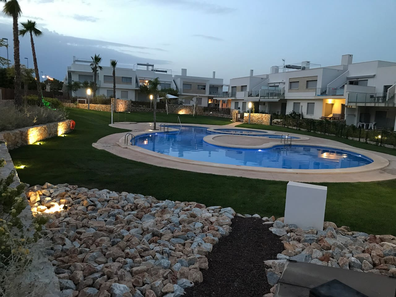 Evening view swimming pool