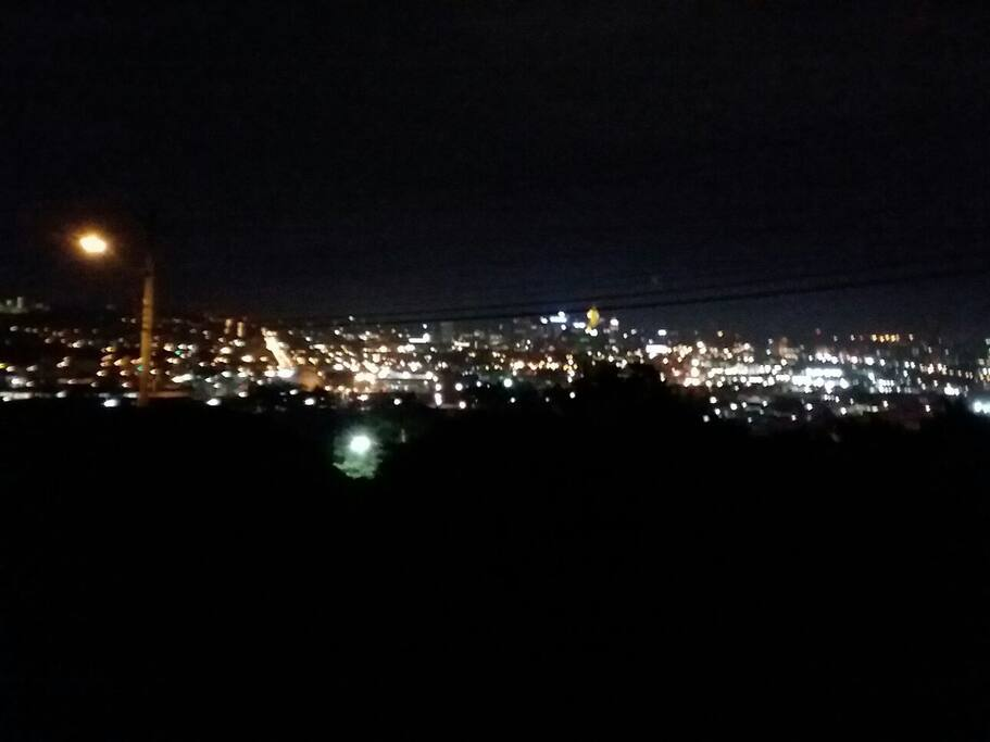 Cincinnati's amazing night skyline viewed from patio.