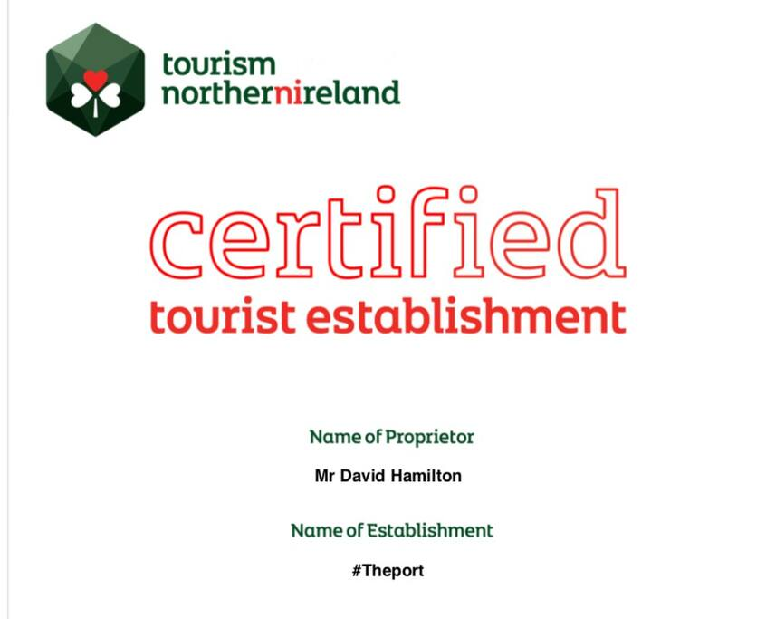 Certified by the Northern Ireland Tourist Board as Self Catering Accommodation.