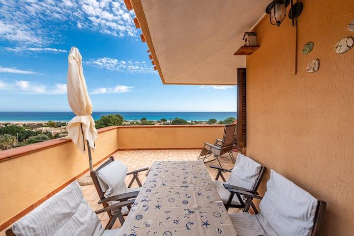 """Charmante maison de vacances """"Casa Rei"""" avec vue sur mer, balcon et jardin ; parking dans la rue"""