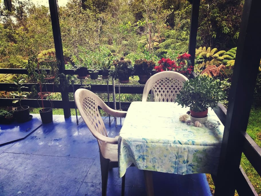 Beautiful table out on the lanai that is wonderful to eat breakfast at