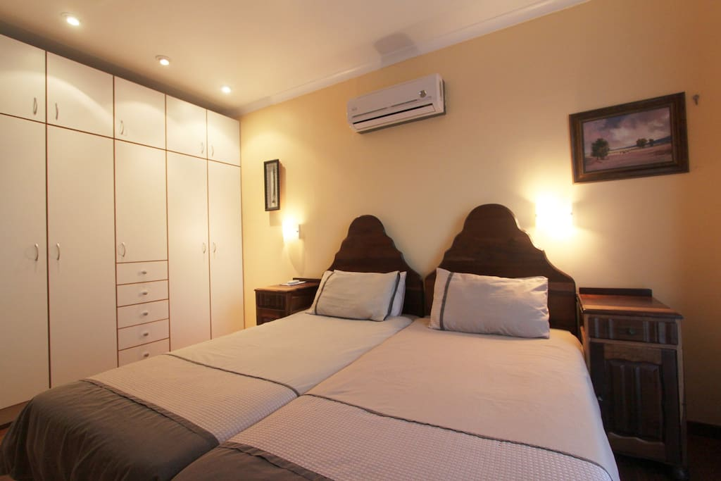 One of the bedrooms, with lots of packing space!