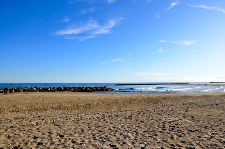 Villa plein pied, 3 eme ligne plage sable fin